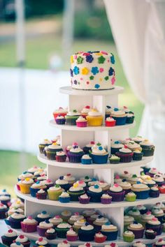 Multi-tiered colorful cupcakes